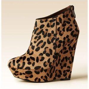 bebe leopard calf hair wedges